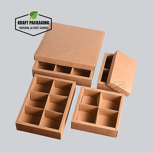 Brown Kraft gift boxes with lid packaging with divider insert
