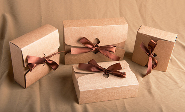 cheap brown kraft flat pack gift boxes