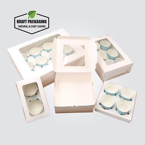 White Paper Muffin Cupcake Boxes with Insert and Clear Window