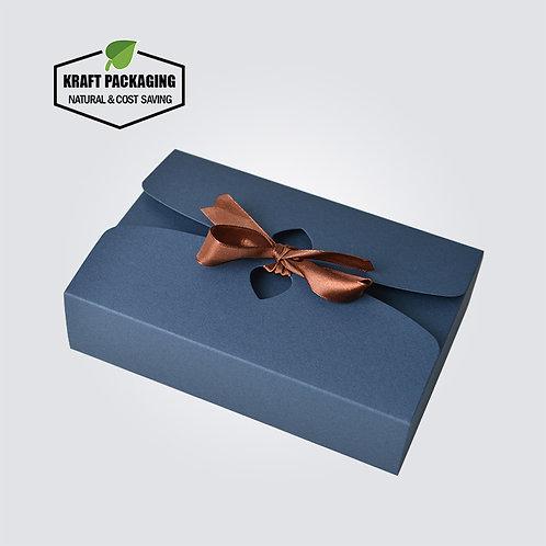 Silk ribbon closure BLUE Kraft paper flat pack gift boxes wholesale