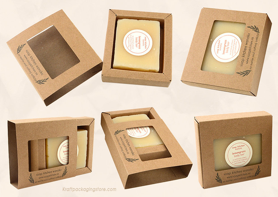 Custom kraft drawer style soap boxes packaging with window