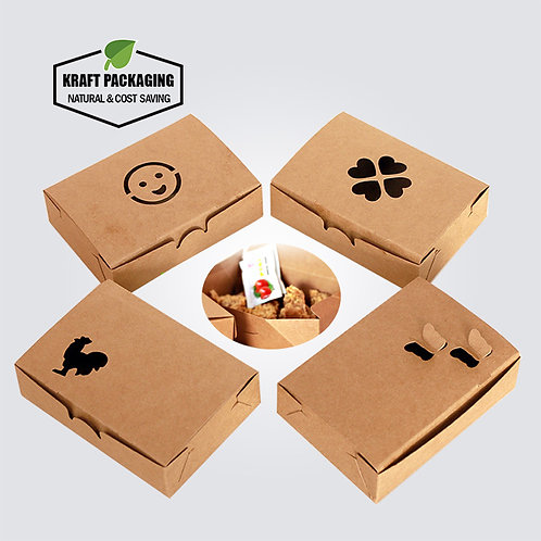 Greaseproof Brown Kraft Paper Fried Chicken Food Boxes Wholesale