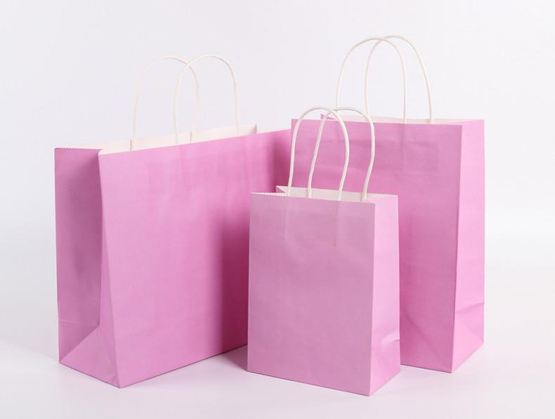 Pink color Kraft paper gift bags