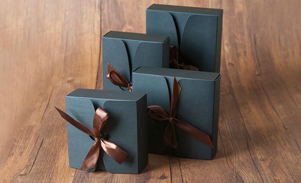 cheap black kraft flat pack gift boxes