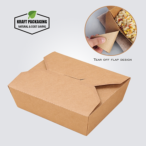 Greaseproof brown Kraft paper take out boxes food container wholesale