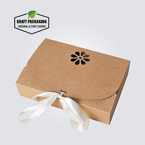 Silk ribbon closure design BROWN Kraft favor boxes gift packaging