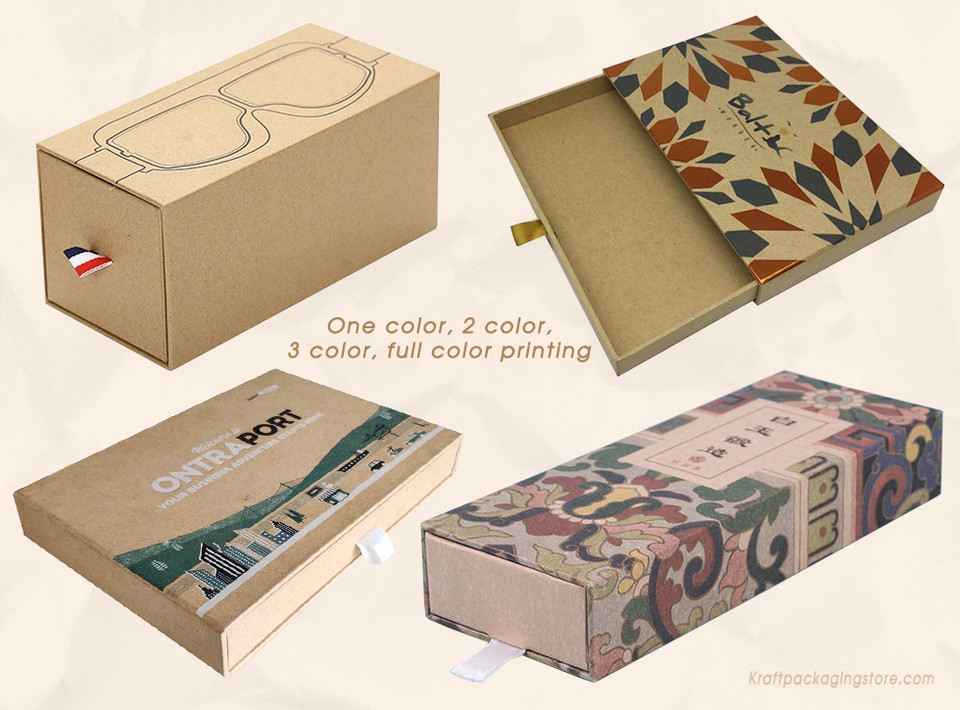 Custom printed rigid kraft drawer boxes