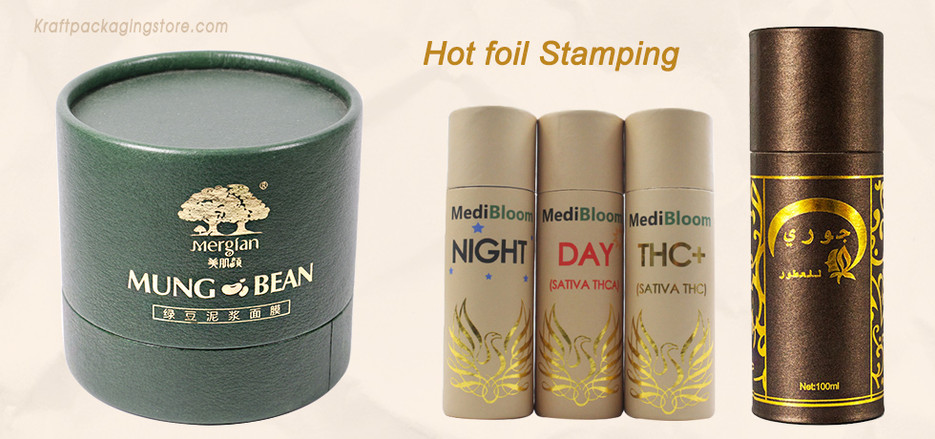Custom paper tube packaging with foil stamping logo