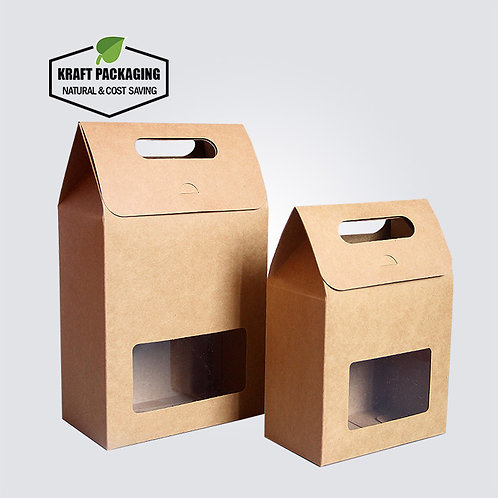 Brown Kraft Paper Gift Boxes with Handle & Clear Window Tea Packaging