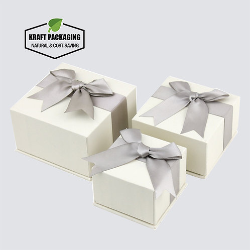 Beige Color 2-piece Jewelry Gift Boxes With Bowknot and Foam Insert