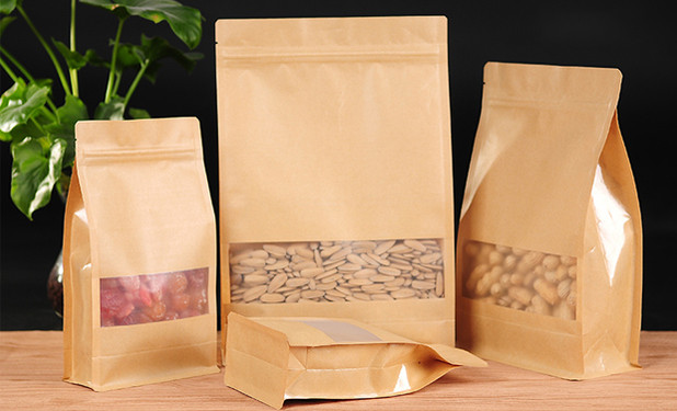 Eight side gusset stand up pouch packaging with window