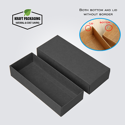 Black Kraft gift box with lid has a base without wide border