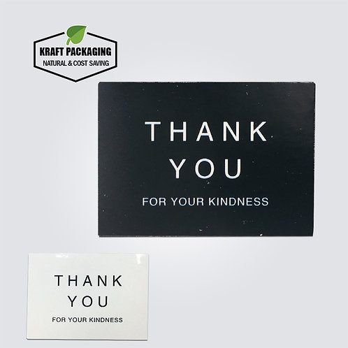 Black and white rectangle Thank you For Your Kindness sticker label