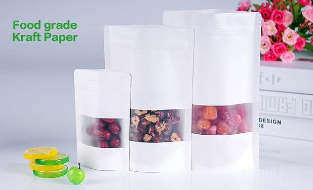 food grade white zipper pouch bags