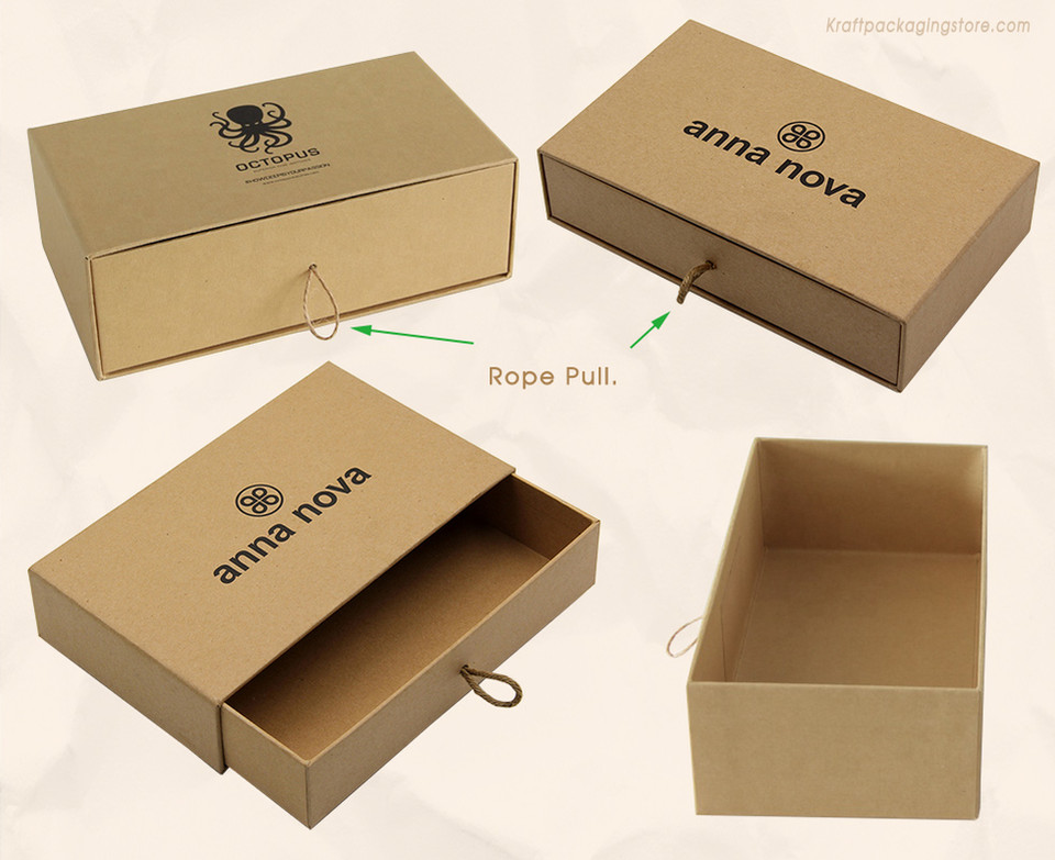 Custom rigid Kraft cardboard sliding drawer boxes with rope pull