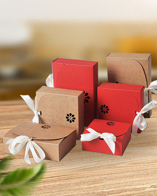 Ribbon closure design kraft candy gift packaging boxes
