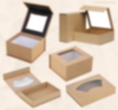 Kraft cardboard rigid magnetic gift boxes with clear window