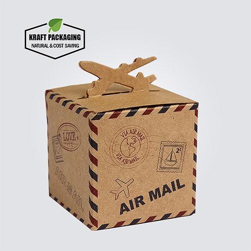 Small Plane Top Mail Design Brown Kraft Favor Boxes Wholesale