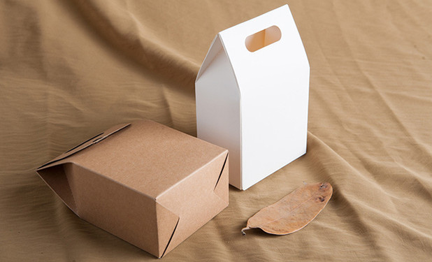 Kraft paper small boxes with handle in two colors