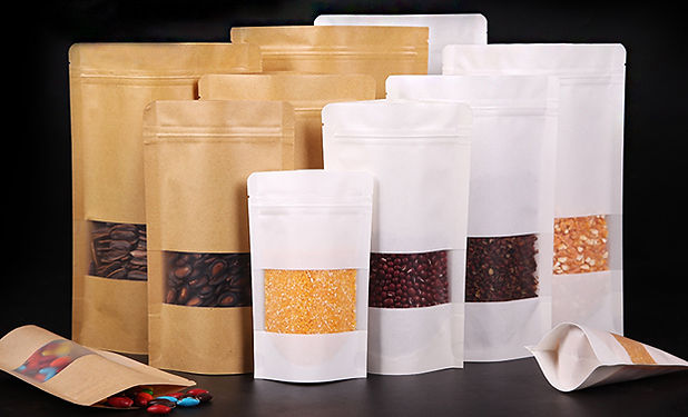 black and white color kraft standup pouch bags