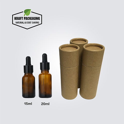 Brown Kraft Paper Cardboard Tube Packaging Suit for 15ml 20ml Dropper Bottles