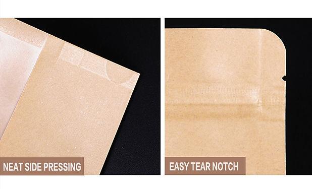 Perfect detail designed kraft zipper pouch bag