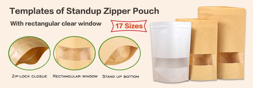 Stand up kraft zipper pouches bag with rectangular window templates