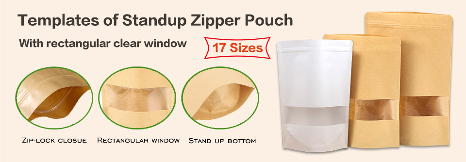 Stand up kraft zipper pouches bag with rectangular window templates