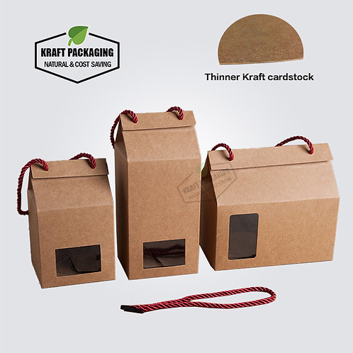 BROWN Kraft paper gift boxes with window and rope handle