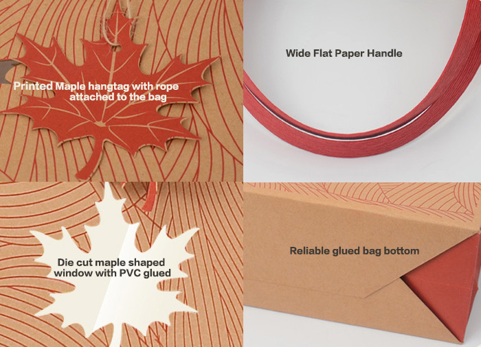 Details of Red color printed brown Kraft gift bags with rivet fixed handle