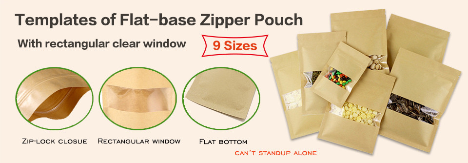 Flat base kraft zipper pouches bag with rectangular window templates