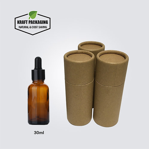Brown Kraft Paper Cardboard Tube Packaging Suit for 30ml Dropper Bottles