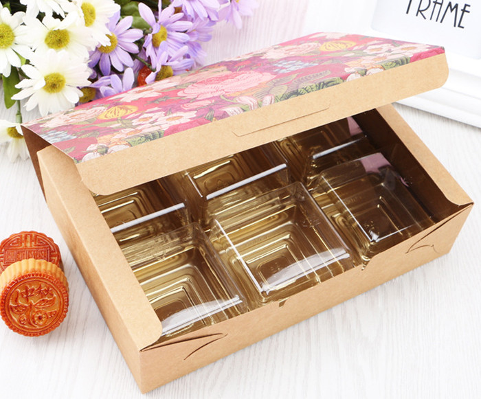 One-piece Color flower printed Kraft paper gift boxes for cakes cookies