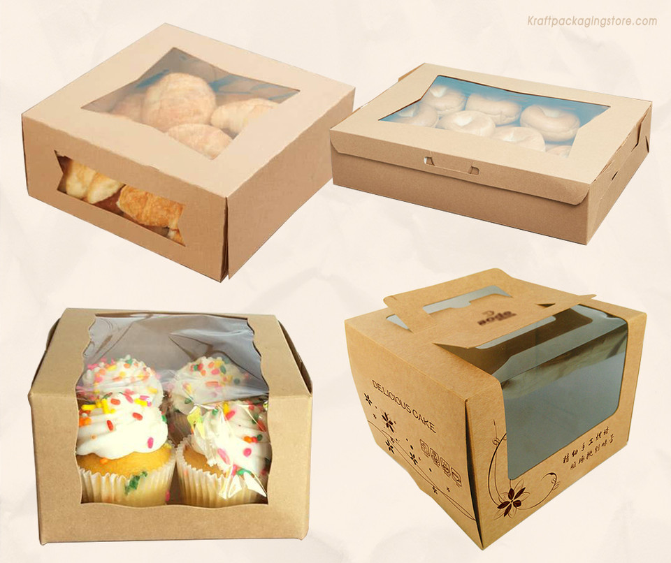 Kraft cake boxes with window bakery boxes
