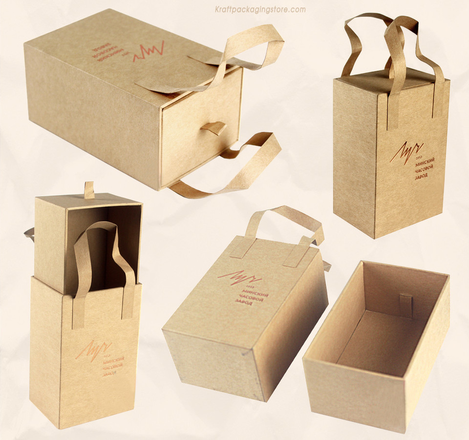 Rigid Kraft drawer gift boxes custom with paper handle