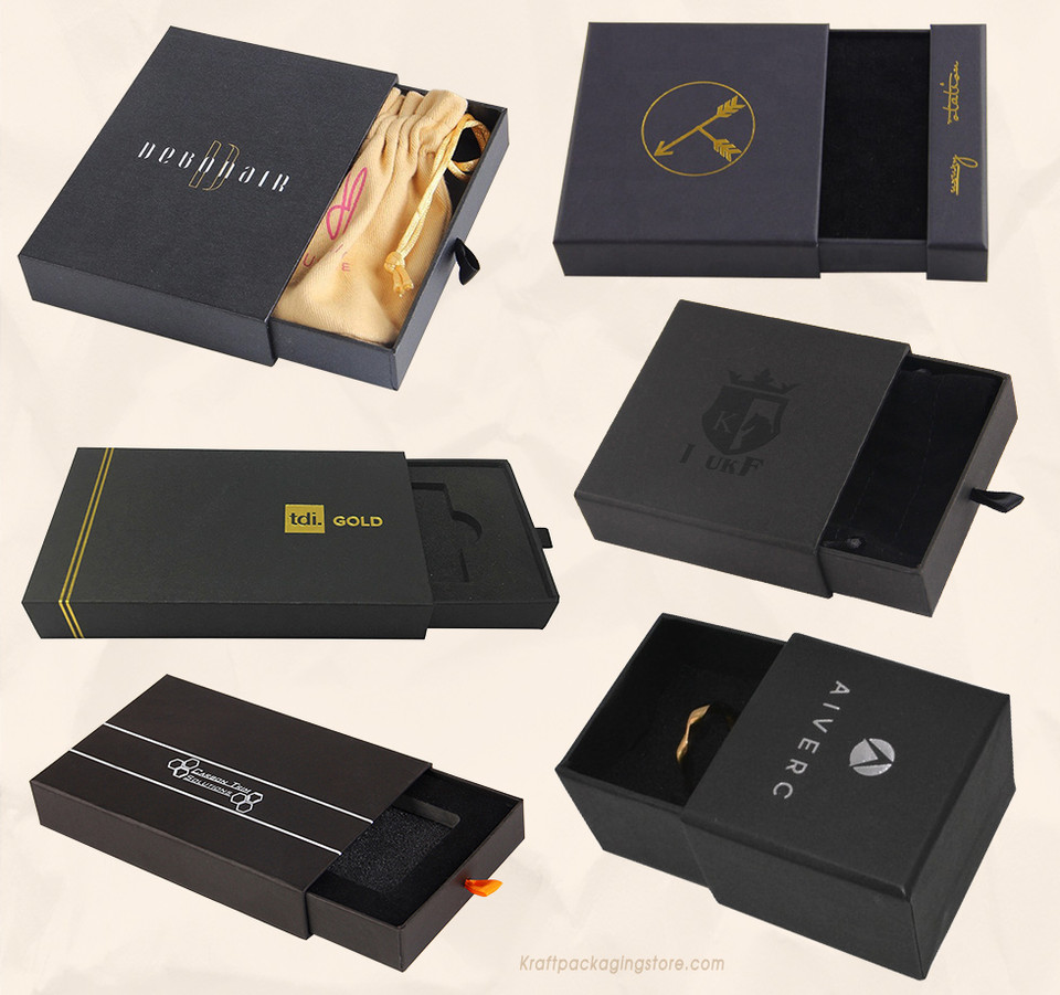 Custom matte black Kraft rigid slide drawer boxes gift packaging