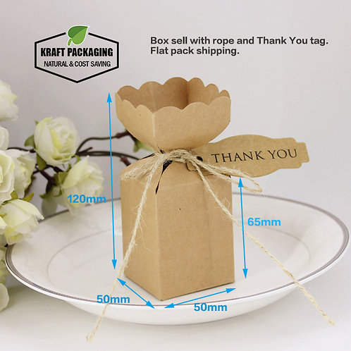 Unique Top Design Small Brown Kraft Favor Gift Boxes Wholesale