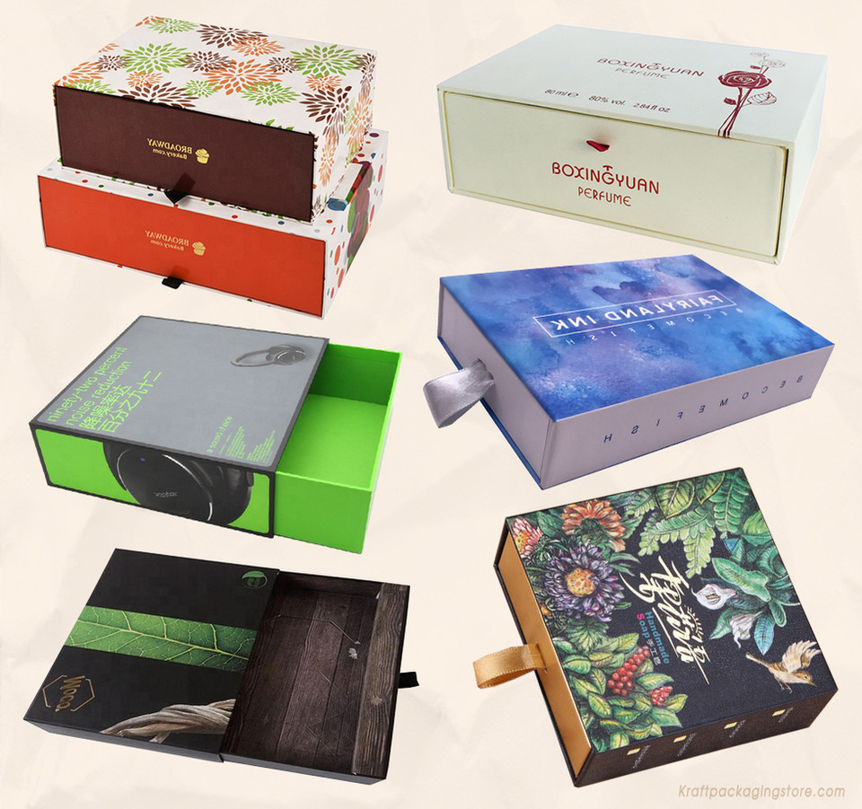 Custom WHITE surface slide rigid cardboard drawer boxes