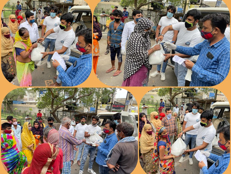 Grocery Aid was provided to daily wage labours in Noida Sector-9 slum