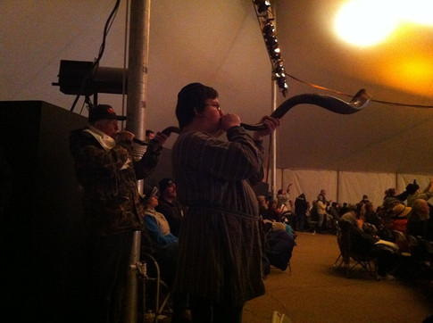 Jessy Blowing the Shofar at Sukkoth