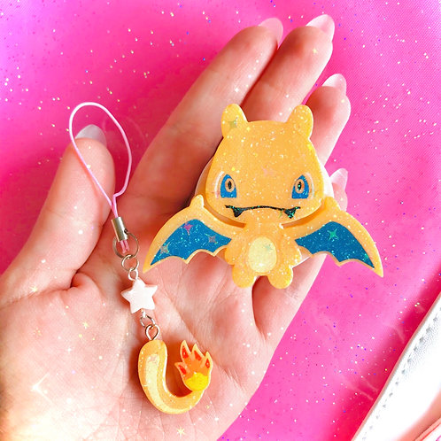 Charizard pop socket + tail phone strap