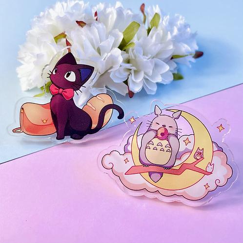 Totoro and Jiji acrylic pins