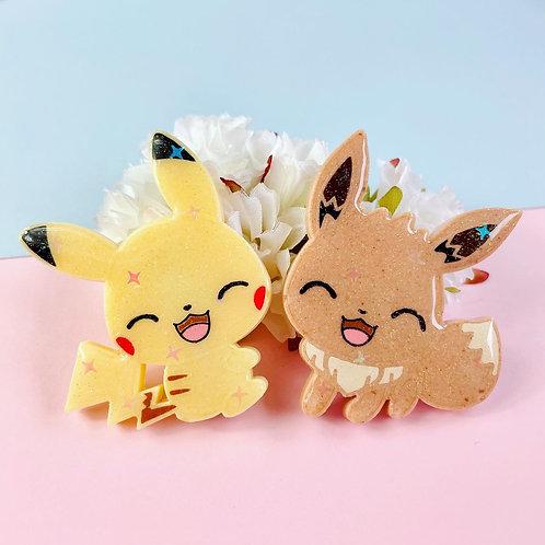 Laughing Pikachu and Eevee