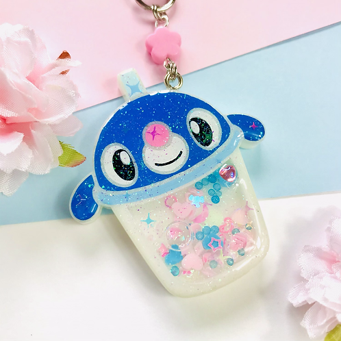 Popplio bubble tea keychain
