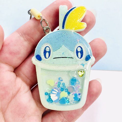 Sobble bubble tea keychain
