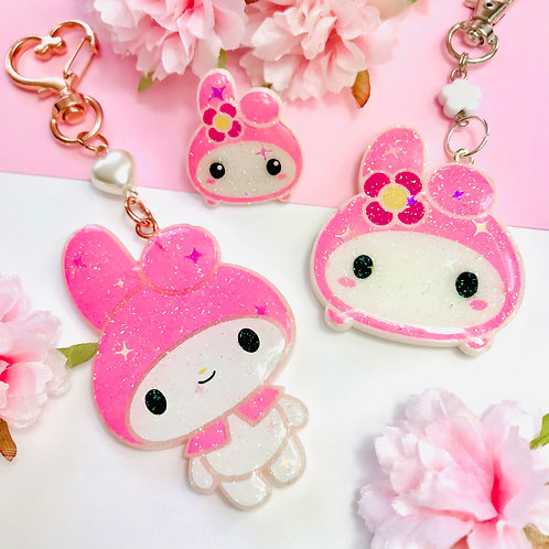 My Melody keychains and Pin