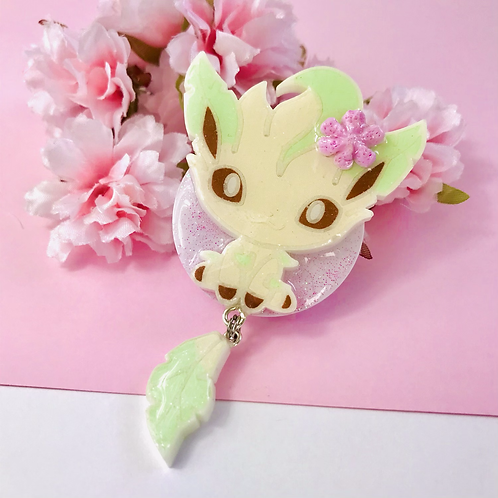Leafeon with a flower phone grip