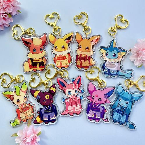 Kimono Eeveelutions acrylic keychains - Special Edition
