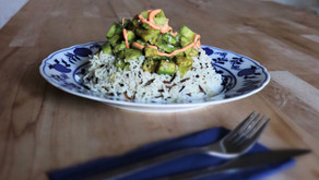 Lunch idea - rice with avocado and cucumber
