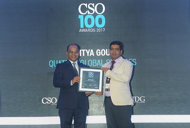 Aditya Gour AVP of technology at Quatrro Global Services receives the CSO100 Award for 2017.